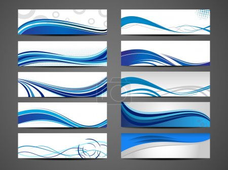 Illustration for Vector illustration of banners or website headers with abstract wave forms in blue color. EPS 10. - Royalty Free Image