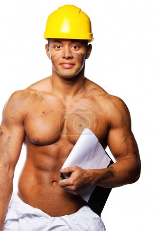 Young sexy worker writing on clipboard