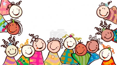 Illustration for Happy kids with cute faces - Royalty Free Image