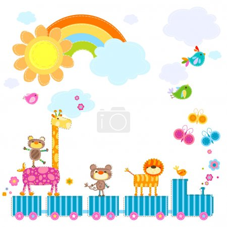 Illustration for Zoo train carrying happy animals in a sunny day - Royalty Free Image