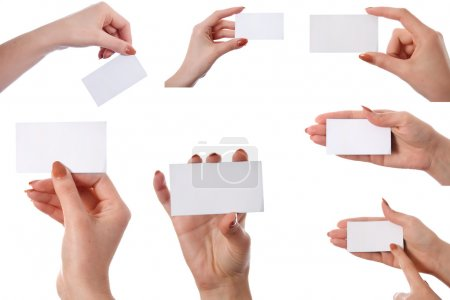 Set of hand holding an empty business card
