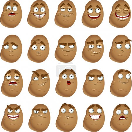 Illustration for Vector cute cartoon potatoes smile with many expressions - Royalty Free Image