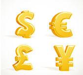 Monetary gold signs - dollar pound euro and yen