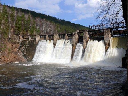 Anthropogenic waterfall in satka river - village Porogi, Satka, Ural, Russi