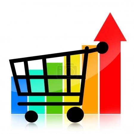 Foto de Gráfico de negocio de crecimiento de ventas con carrito de compras y flecha roja hacia arriba sobre fondo blanco - Imagen libre de derechos