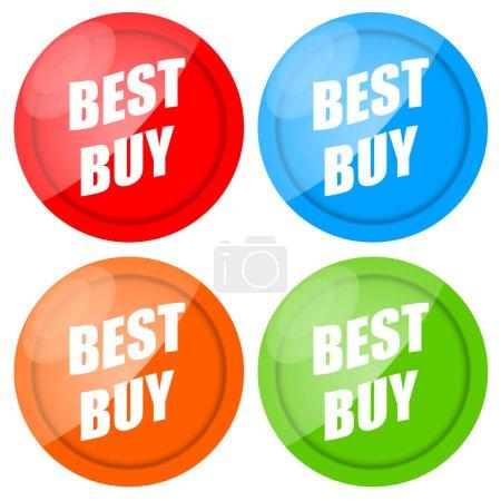 Photo pour Meilleur achat étiquettes brillant de couleur isolés sur fond blanc - image libre de droit