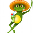 Green frog in a sombrero and a cocktail...