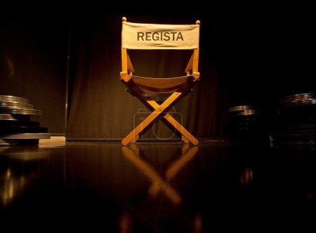 Photo pour Photo de Director Chair sur fond noir - image libre de droit