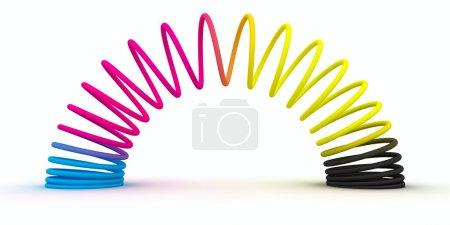 Photo pour Ressort spiral de couleurs CMJN isolé sur fond blanc - image libre de droit