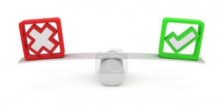 Photo pour Coche verte et l'équilibrage de la Croix rouge sur la balançoire - image libre de droit