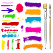 Brushes and grunge painted elements. Vector painte...