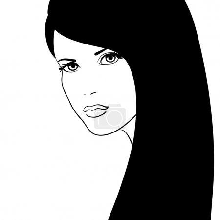 Black and white girl face vector illustration, fashion model