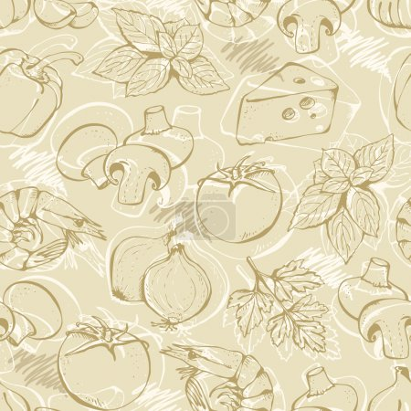 Illustration for Background from hand-drawn pizza ingredients on a beige in vintage style - Royalty Free Image