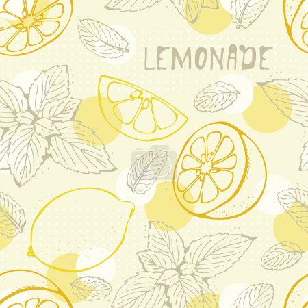 Illustration for Lemonade seamless vector background with yellow lemons - Royalty Free Image