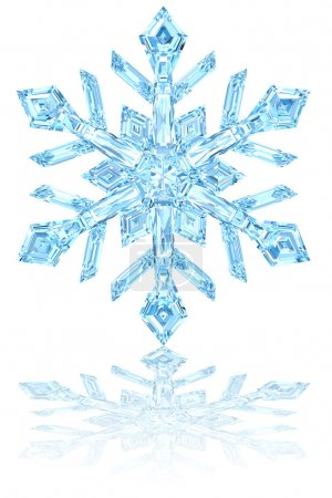 Photo for Light blue crystal snowflake on glossy white background. High resolution 3D image - Royalty Free Image