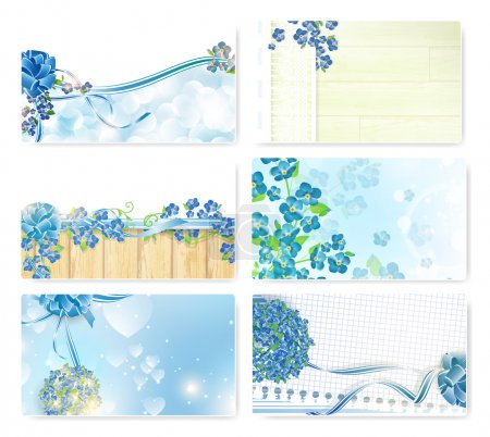Illustration for Abstract Valentine`s day template set with forget-me-not flowers - Royalty Free Image