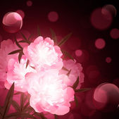 Peony flowers over holiday aery background