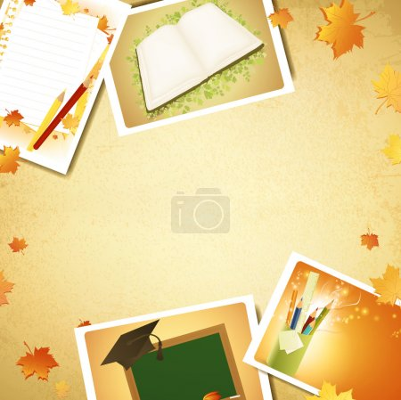 Illustration for Vintage education background with some schooling photos, copyspace for your text - Royalty Free Image