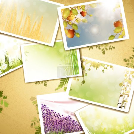 Illustration for Vintage eco background with nature photos - Royalty Free Image