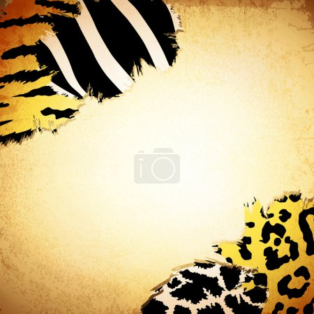 Illustration for Vintage background with some animal print patterns, copyspace for your text - Royalty Free Image