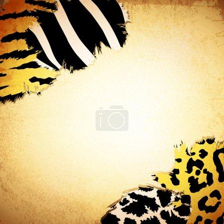 Illustration pour Arrière-plan vintage avec quelques motifs d'impression animale, copyspace pour votre texte - image libre de droit