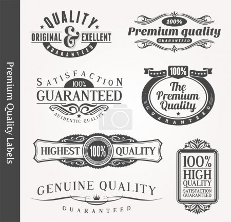 Illustration for Vector decorative ornamental emblems of quality - Royalty Free Image