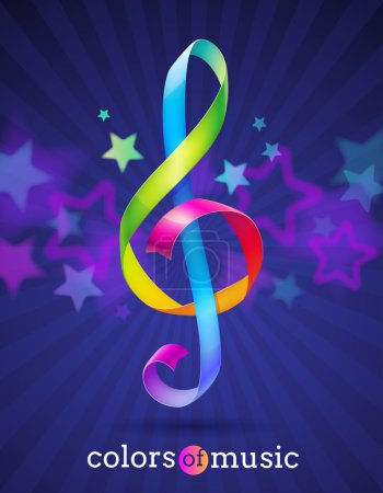 Multicolored glossy ribbons in the shape of treble...