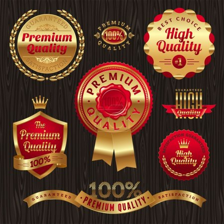 Illustration for Set of golden quality labels and emblems - Royalty Free Image