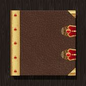 Leather vintage hardcover of a book with golden decorative elements