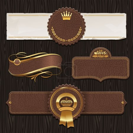 Illustration for Vector set of leather & golden framed labels - Royalty Free Image