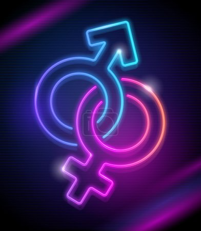 Neon sings of Venus and Mars - vector illustration