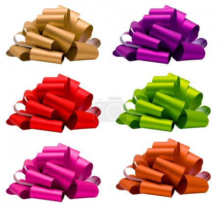 Photo for Collection of bow (red, pink, green, purple, orange, beige), isolated on white, side view. - Royalty Free Image
