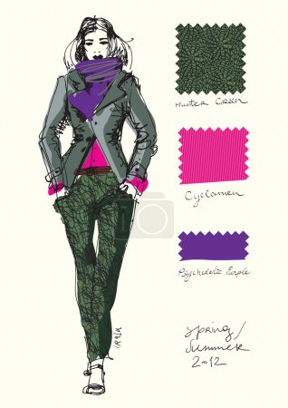 A sketch of a fashion model.