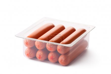Opened pack of sausages