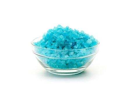 Sea blue color salt in glasses