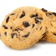 Chocolate chip cookies isolated on a white background. Photo closeup
