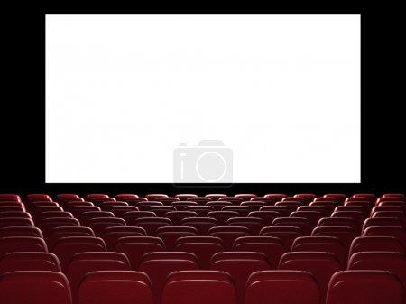 Photo pour Cinéma auditorium. rendu 3D. Voir sur l'écran - image libre de droit