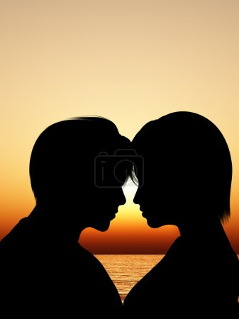 Silhouette kissing a loving couple