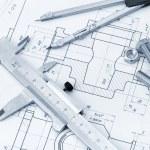 The plan industrial details, a screws, caliper, di...