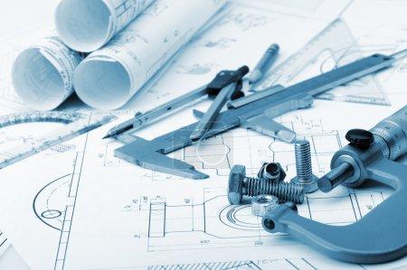 The plan industrial details, a screws, caliper, divider,micromet
