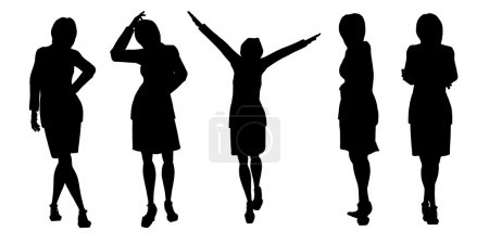 Photo for Silhouette of the woman. Various poses. It is isolated on a white background - Royalty Free Image