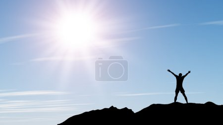 Photo for Men greeting sun. Stands on hill, sunbeam and blue sky - Royalty Free Image