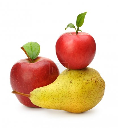 Photo for Pear and red apples. Isolated on white background - Royalty Free Image