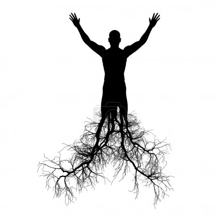 The man with tree roots
