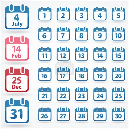 Set of calendar icons for every day