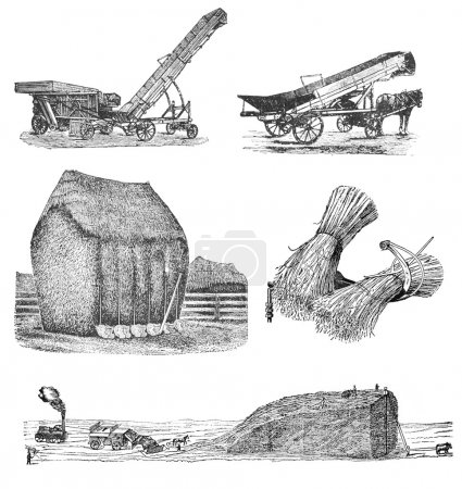 """Photo pour RUSSIE - CIRCA 1897 : gravure de l'agriculture tirée d'un tirage original de """"Machines agricoles. Atlas """", créateur K.K.Veber . - image libre de droit"""
