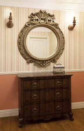 Hallway with a mirror