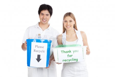 Young Couple Holding Recycle Bin