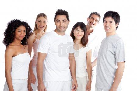 Foto de Grupo multiétnico de aislados sobre fondo blanco. - Imagen libre de derechos