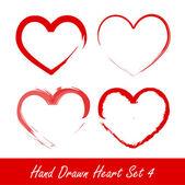 Hand drawn heart set 4 vector illustration